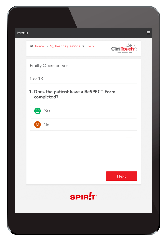 CliniTouch Frailty Questions